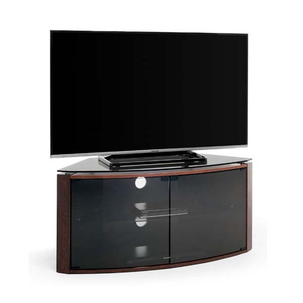 Remarkable Fashionable Smoked Glass TV Stands Intended For Techlink Bench Corner 55 Inch Tv Stand Dark Oak With Smoked Glass (View 23 of 50)