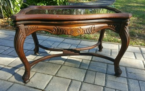 Remarkable Fashionable Vintage Glass Top Coffee Tables Throughout Antique Walnut Chippendale Tea Coffee Table Carved Inlay Glass Top (View 22 of 50)