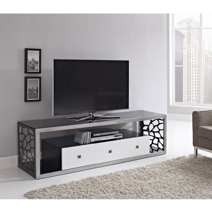 Remarkable Fashionable White And Black TV Stands Intended For Best 10 Silver Tv Stand Ideas On Pinterest Industrial Furniture (Image 39 of 50)