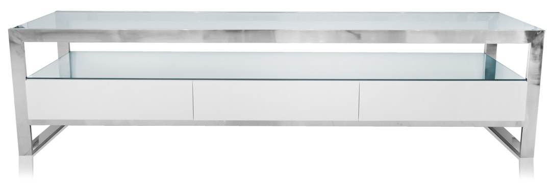 Remarkable Fashionable White TV Stands Within Beautiful White Strada Tv Stand With Glass Shelf Space (Image 37 of 50)