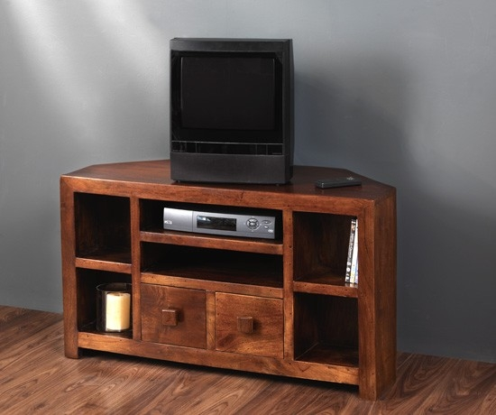 Remarkable Fashionable Wooden Corner TV Cabinets Intended For Solid Mango Wood Corner Tv Unit Casa Bella Handcrafted Furniture (Image 36 of 50)
