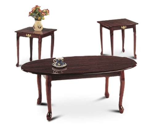 Remarkable Favorite Cherry Wood Coffee Table Sets Throughout Amazon 3 Piece Cherry Finish Coffee Table Set With Two End (Image 42 of 50)