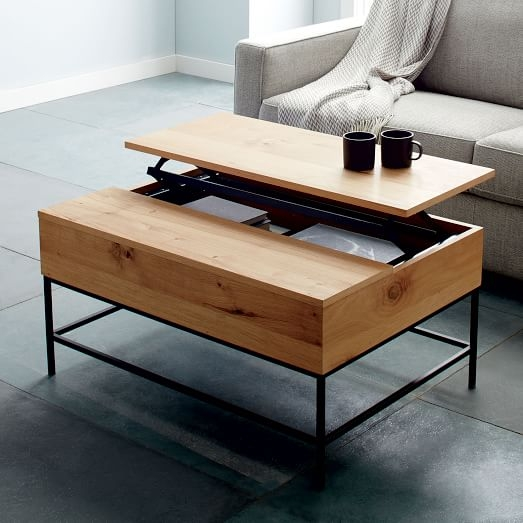 Remarkable Favorite Coffee Tables With Raisable Top Pertaining To Industrial Storage Coffee Table West Elm (View 11 of 50)