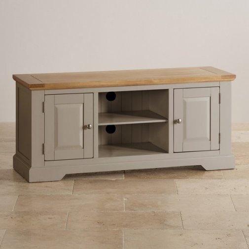 Remarkable Favorite Light Oak TV Cabinets Inside Natural Oak And Light Grey Painted Tv Cabinet (Image 40 of 50)