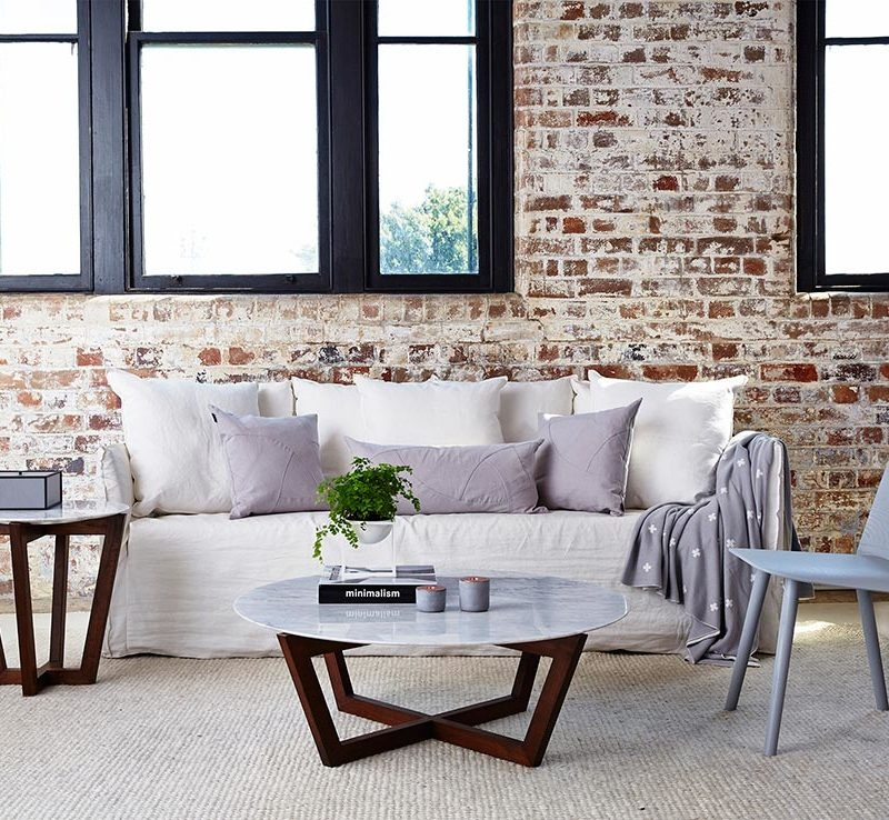 Remarkable Favorite Marble Round Coffee Tables Throughout Modern Designer Round Italian Marble Coffee Table Walnut Wooden Base (View 36 of 50)