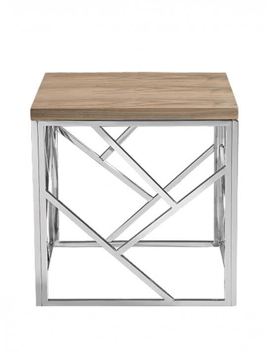 Remarkable High Quality Chrome And Wood Coffee Tables Pertaining To Aero Chrome Wood Side Table Modern Furniture Brickell Collection (View 14 of 50)