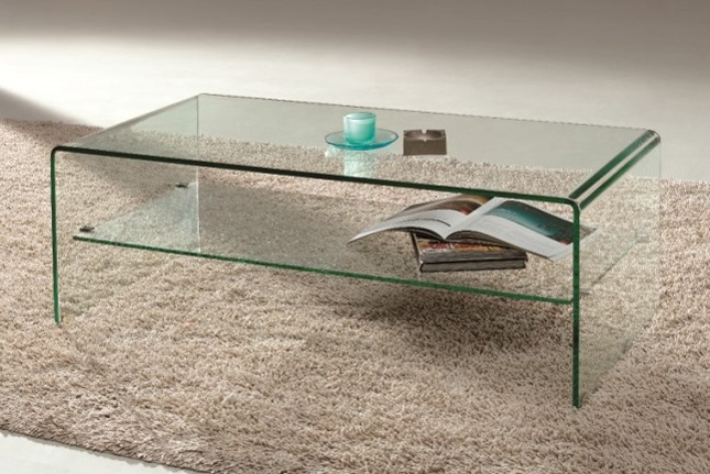Remarkable High Quality Glass Coffee Tables With Shelf For Arch Waterfall Bent Glass Coffee Table With Shelf (View 3 of 50)