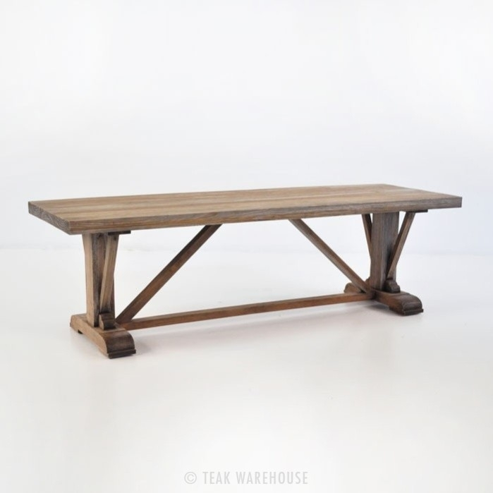 Remarkable High Quality Long Coffee Tables With Regard To Kingsley Long Reclaimed Teak Rustic Coffee Table Teak Warehouse (View 36 of 50)