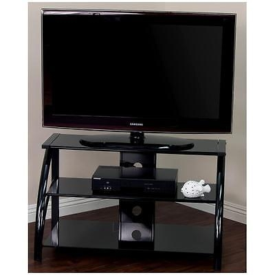 Remarkable High Quality Modern Black TV Stands Throughout Black Tv Stand Tempered Glass Shelves Modern Entertainment Center (Image 38 of 50)