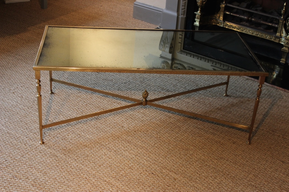 Remarkable Latest Antique Mirrored Coffee Tables Pertaining To 1950s French Brass Coffee Table With Antique Mirror Coffee Low (Image 30 of 40)