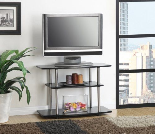 Remarkable Latest Black Modern TV Stands With Black Modern Tv Stand Wood Home Table Furniture Screen Media (Image 34 of 50)