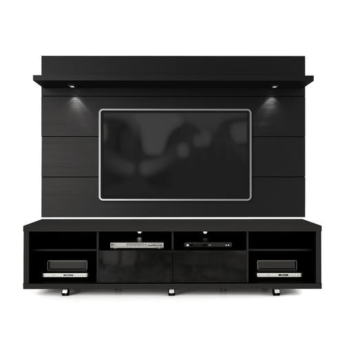 Remarkable Latest Black TV Stands With Regard To Black Tv Stand Floating Wall Tv Panel W22 Led Lights (Image 32 of 50)
