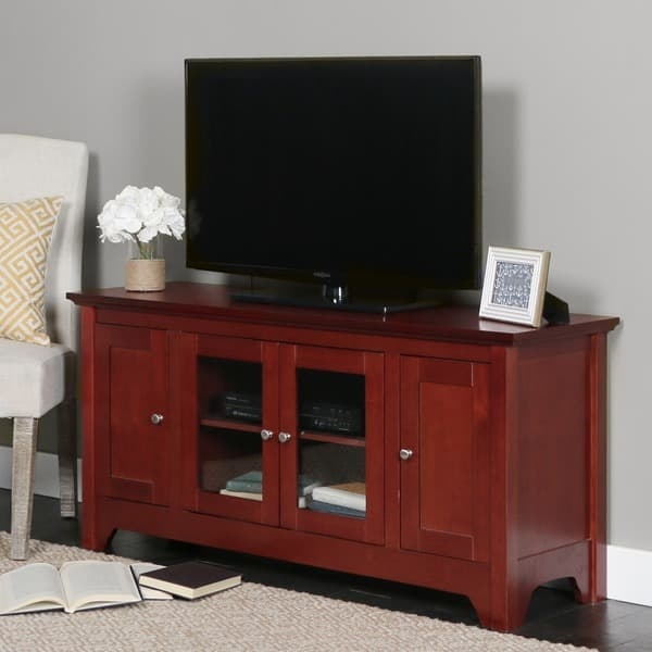 Remarkable Latest Brown TV Stands Pertaining To Brown Wood 53 Inch Tv Stand Free Shipping Today Overstock (View 23 of 45)