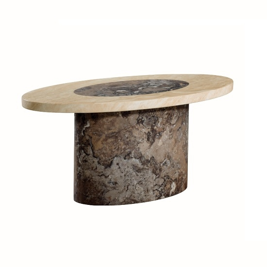 Remarkable Latest Dark Brown Coffee Tables With Marble Coffee Table Oval In Dark Brown And Cream (View 34 of 50)