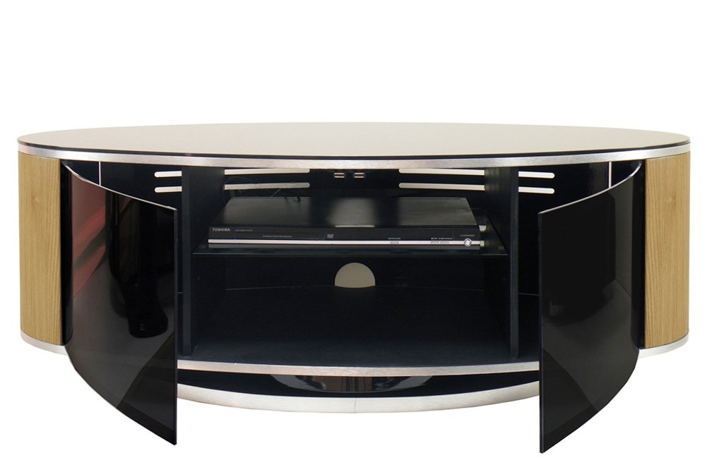 Remarkable Latest Dark Wood Corner TV Cabinets In Mda Luna High Gloss Black Oak Oval Tv Cabinet (Image 42 of 50)