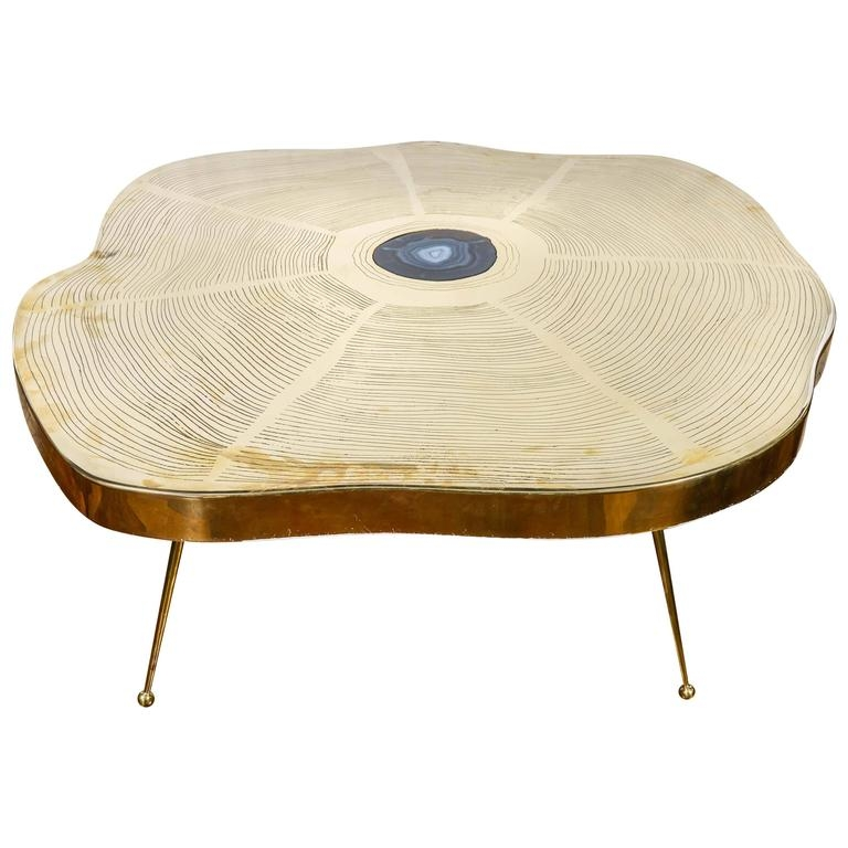 Remarkable Latest Free Form Coffee Tables Within Free Form Brass And Agate Coffee Table For Sale At 1stdibs (Image 30 of 40)