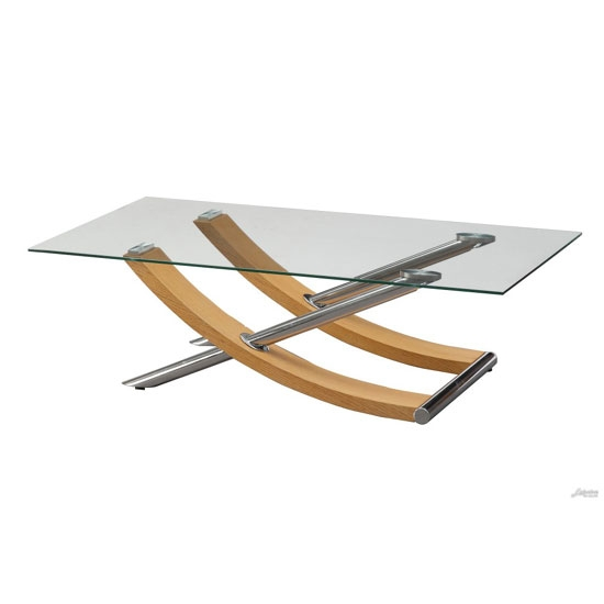 Remarkable Latest Glass Oak Coffee Tables In Gemini Coffee Table In Clear Glass Top With Oak And Chrome (Image 39 of 50)