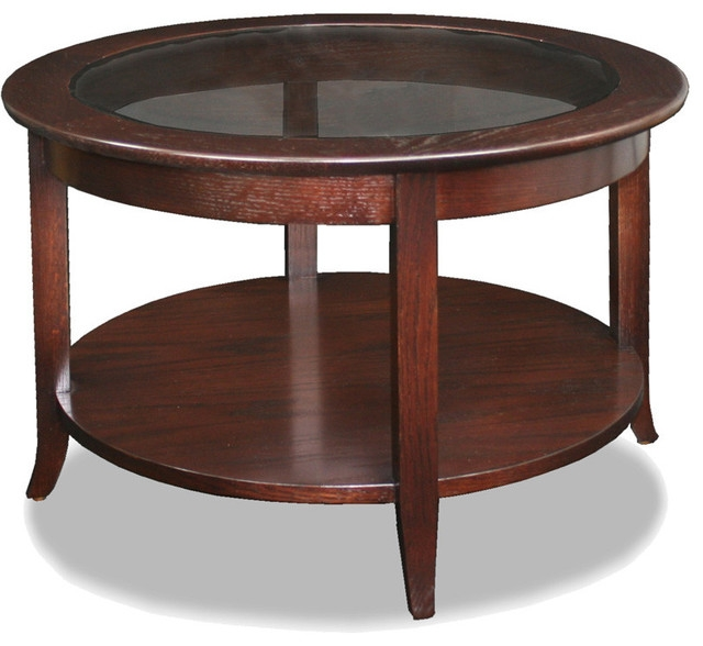 Remarkable Latest Glass Oak Coffee Tables In Leick Solid Wood Round Glass Top Coffee Table Chocolate Oak (Image 40 of 50)