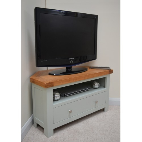 Remarkable Latest Green TV Stands Within Sea Green Oak Corner Tv Stand Entertainment Unit (Image 39 of 50)