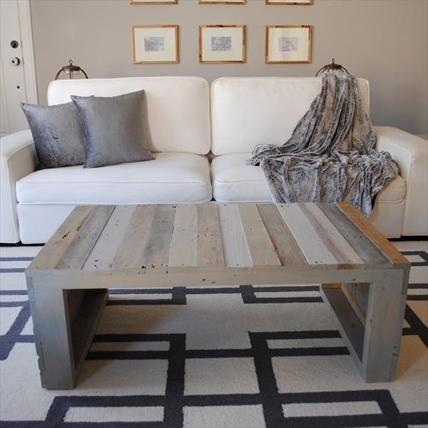 Remarkable Latest Grey Wash Wood Coffee Tables Pertaining To Wood Pallet Coffee Table (Image 40 of 50)