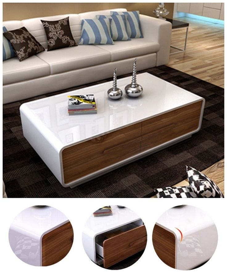 Remarkable Latest Low Coffee Tables With Drawers For Best 25 White Gloss Coffee Table Ideas On Pinterest Table Tops (View 36 of 50)