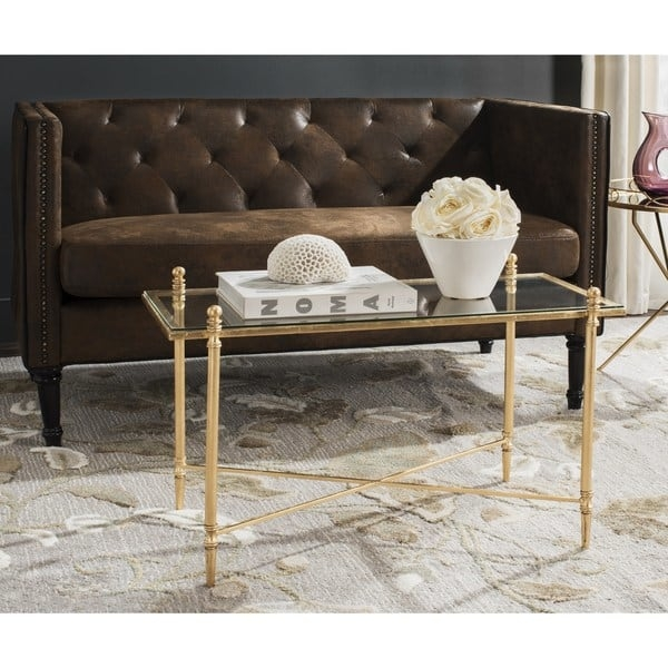 Remarkable Latest Safavieh Coffee Tables Regarding Safavieh Tait Antique Gold Leaf Coffee Table Free Shipping Today (View 1 of 50)