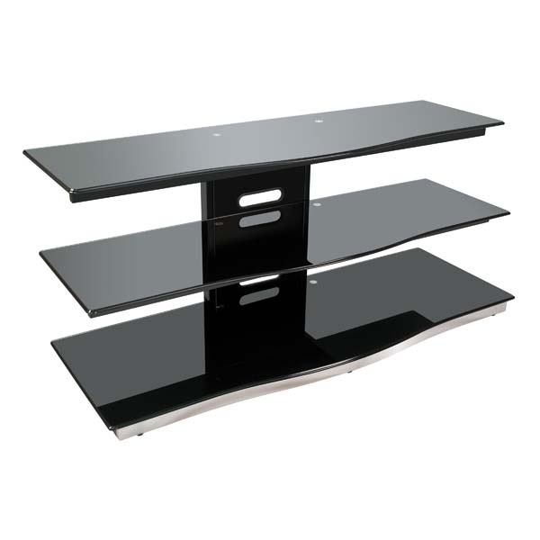 Remarkable Latest TV Stands For 55 Inch TV Regarding Bello Modern Curved Front Black Glass 55 Inch Tv Stand Black Pvs (Image 39 of 50)