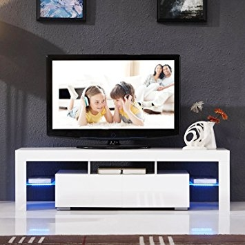 Remarkable Latest White High Gloss TV Stands Unit Cabinet Pertaining To Amazon Tv Stand Unit Cabinet Wled Shelves 2 Drawers Console (Image 38 of 50)