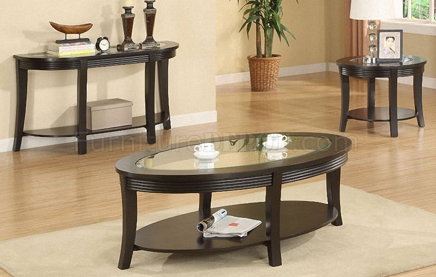 Remarkable New Espresso Coffee Tables Throughout Dark Espresso Coffee Console End Table Set Wglass Inlay (View 22 of 50)
