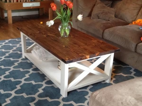 Remarkable New Rustic Coffee Tables With Bottom Shelf Within Two Tone Coffee Table Farmhouse Style X 2×4 Industrial White Wood (View 23 of 50)