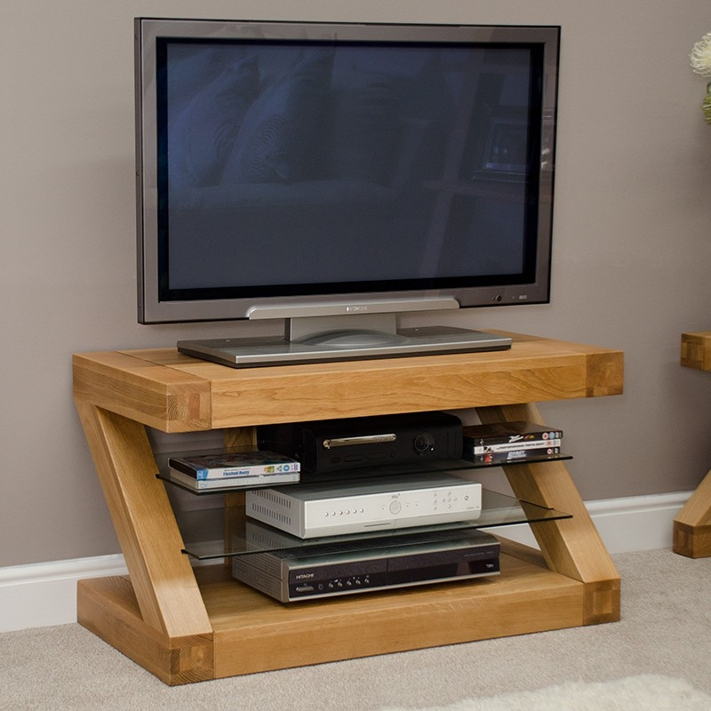 Remarkable New Small Oak TV Cabinets Regarding Z Solid Oak Small Designer Tv Plasma Unit Furniture4yourhome (View 7 of 50)