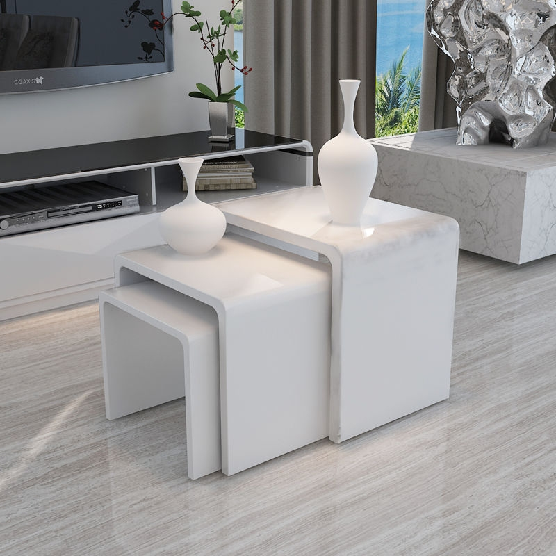 Remarkable New White Gloss Coffee Tables Inside White High Gloss Nest Of 3 Coffee Table Side End Table Modern (View 25 of 50)