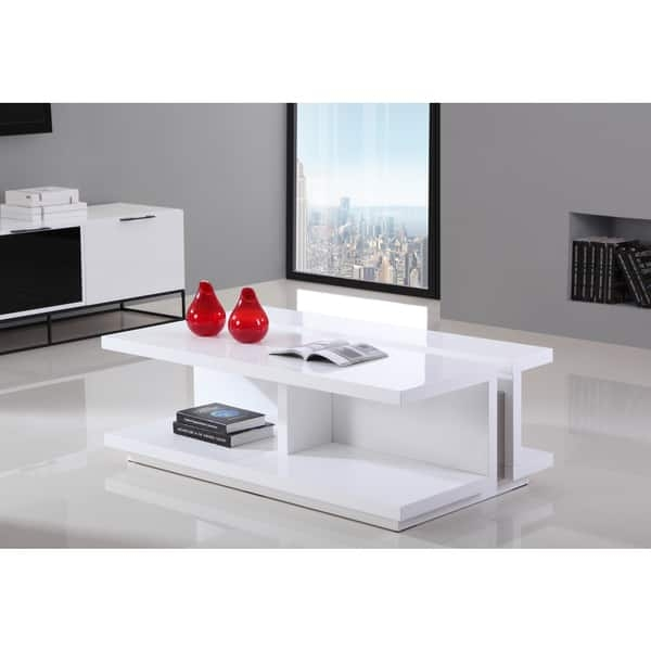 Remarkable New White High Gloss Coffee Tables Pertaining To B Modern Dj White High Gloss And Stainless Steel Modern Coffee (View 45 of 50)