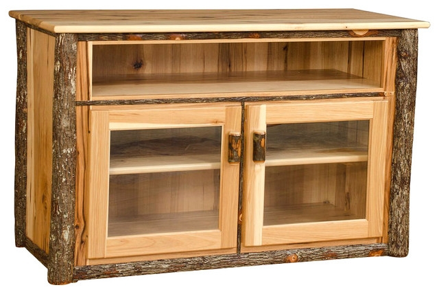 Remarkable New Wood TV Stands With Glass Top For Rustic Hickory Tv Stand With Glass Doors All Hickory Rustic (Image 34 of 50)