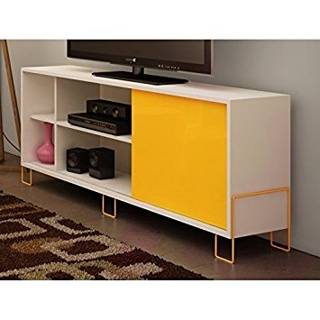 Remarkable New Yellow TV Stands Intended For Amazon Manhattan Comfort Nacka 20 Series 71 Tv Stand In (View 21 of 50)