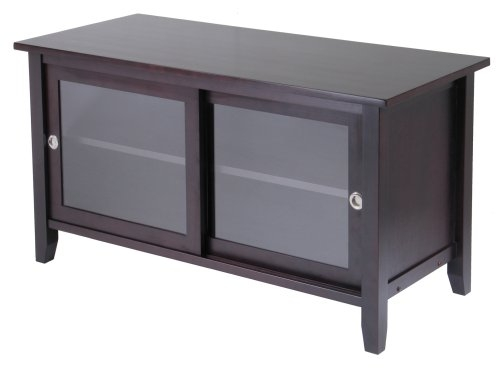 Remarkable Popular Black TV Stands With Glass Doors Pertaining To Amazon Winsome Wood Tv Stand With Glass Sliding Doors (Image 35 of 50)