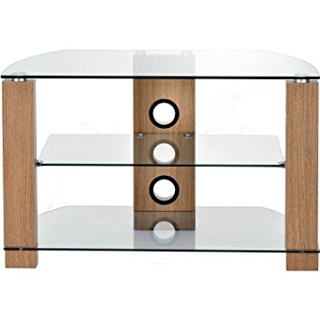Remarkable Popular Glass And Oak TV Stands Within Ttap Group Light Oak Legs Clear Glass Stand For Tv Upto 37 Inch (Image 39 of 50)