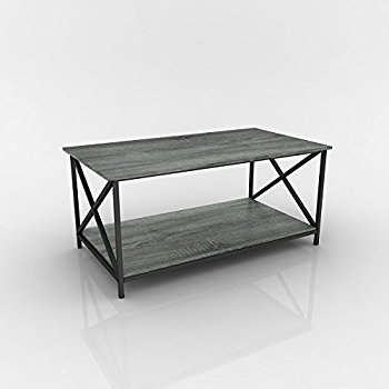 Remarkable Popular Grey Coffee Tables Pertaining To Amazon Weathered Grey Oak Finish Metal X Design Wooden (View 34 of 50)