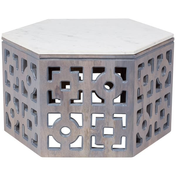 Remarkable Popular Grey Wash Wood Coffee Tables Inside Wanderloot Sedgwick Geometric Marble Top Grey Wash Wood Coffee (Image 41 of 50)