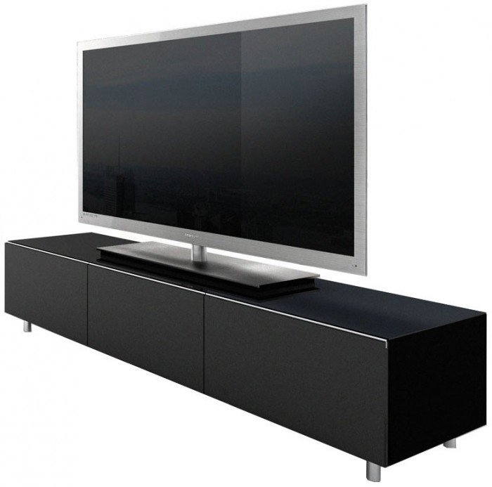 Remarkable Popular Long Black TV Stands Inside Tv Stands Modern Tv Stand 65 Inch Frosting Glass Black Ideas (View 7 of 50)