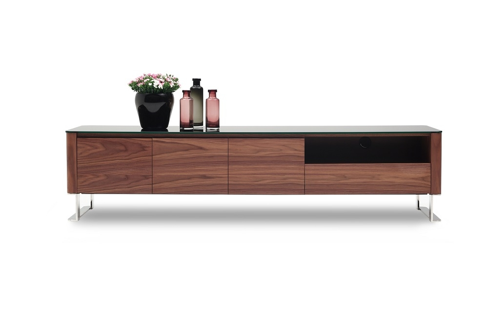 Remarkable Popular Modern Walnut TV Stands With Walnut And Glossy Black Two Tone Entertainment Tv Stand Fort Worth (View 8 of 50)