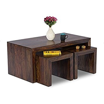 Remarkable Popular Sheesham Coffee Tables Pertaining To Homeedge Eliama Coffee Table With Two Stools Walnut Sheesham Wood (View 17 of 50)