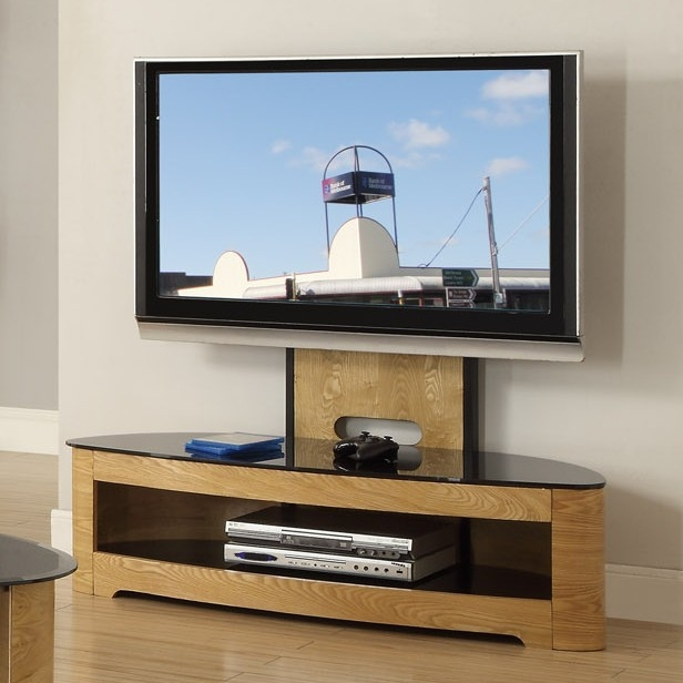 Remarkable Popular TV Stands Cantilever Regarding Curved Oak Cantilever Tv Stand Jf (Image 40 of 50)