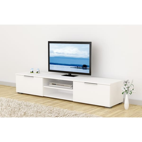 Remarkable Popular White Wooden TV Stands Regarding Match Mid Century White Wood Tv Stand Free Shipping Today (Image 37 of 50)