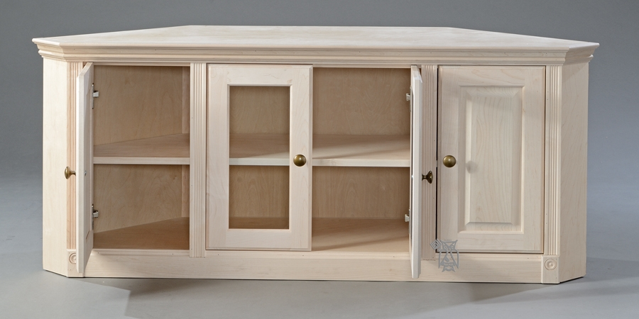 Remarkable Popular Wood Corner TV Cabinets Pertaining To Unfinished Corner Tv Cabinet Mf Cabinets (View 19 of 50)
