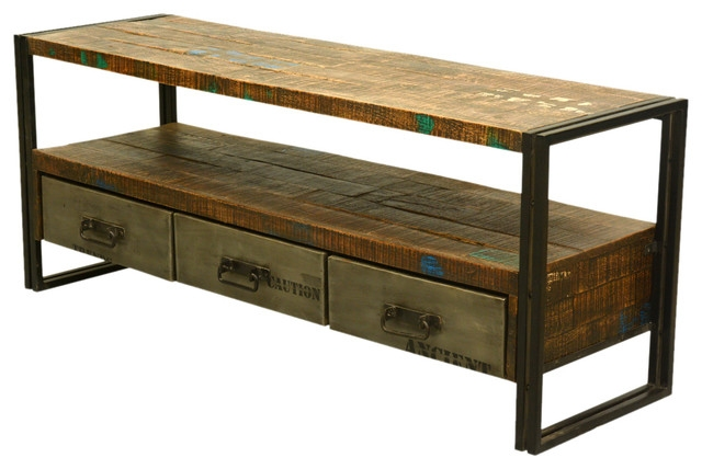 Remarkable Preferred Industrial TV Cabinets Within Industrial Reclaimed Wood Iron 59 Media Console With Drawers (Image 41 of 50)