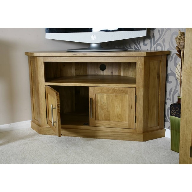 Remarkable Preferred Light Oak Corner TV Stands Pertaining To Delamere Light Oak Corner Tv Stand Click Oak (View 8 of 50)