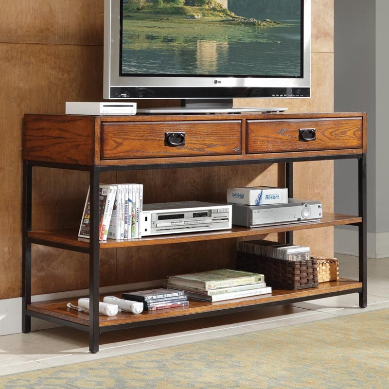 Remarkable Preferred Modern Oak TV Stands Pertaining To Home Styles Modern Craftsman Console Oak Finish Tv Stands At (View 48 of 50)