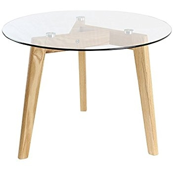 Remarkable Preferred Oak And Glass Coffee Tables In Hartleys Solid Oak Tripod Base Round Glass Coffee Table Amazonco (View 42 of 50)