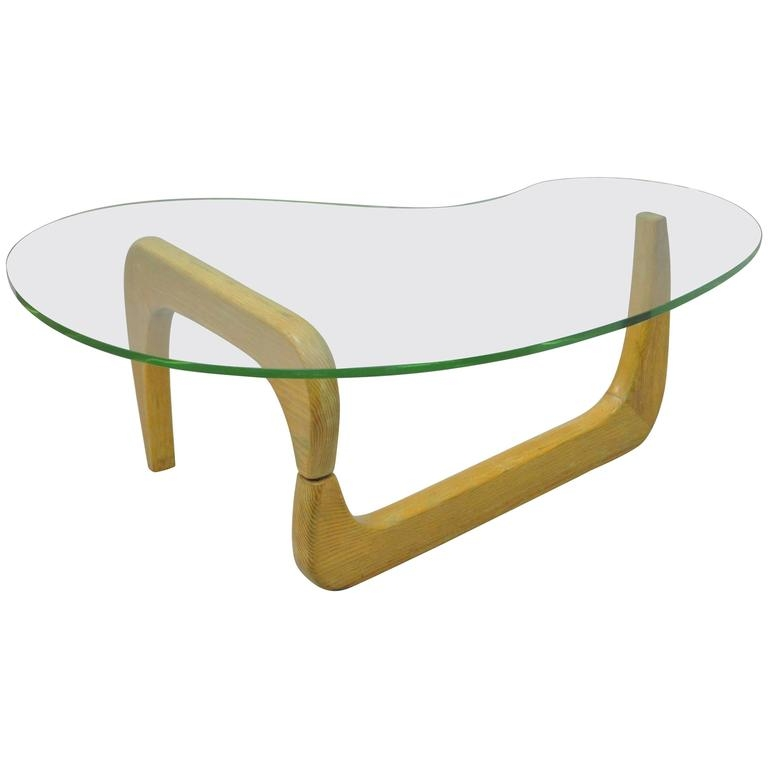 Remarkable Preferred Oak And Glass Coffee Tables Inside 1950s Cerused Oak And Glass Kidney Shape Biomorphic Coffee Table (Image 40 of 50)